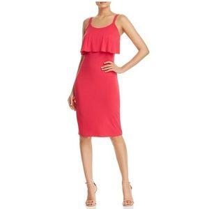 Michael Kors pink ruffle overlay dress